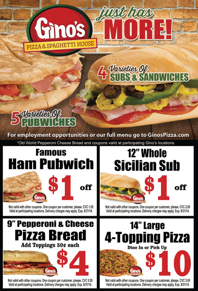 Gino's Pizza - Coupon for 10% Off by Registering for eClub ...  Ginos Pizza Coupons
